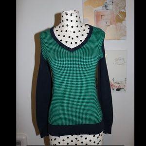 TOMMY HILFIGER Long Sleeve Houndstooth Pattern Top